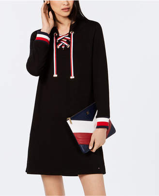 Tommy Hilfiger Long-Sleeve Lace-Up Dress, Created for Macy's