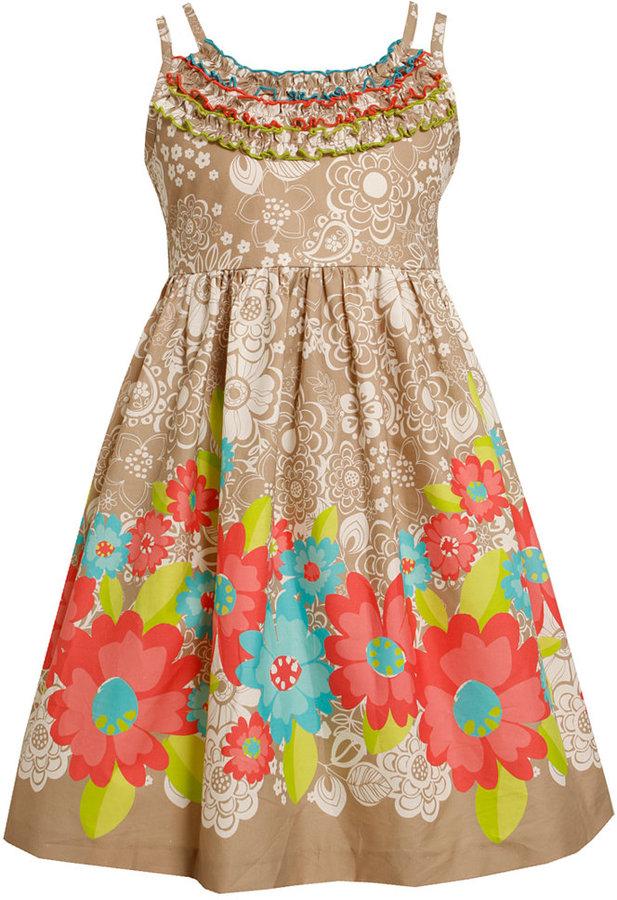 Bonnie Jean Girls Dress, Girls Floral Print Empire-Waist Dress