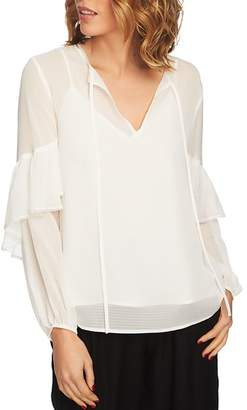 1 STATE 1.STATE Sheer Check Ruffle-Sleeve Top