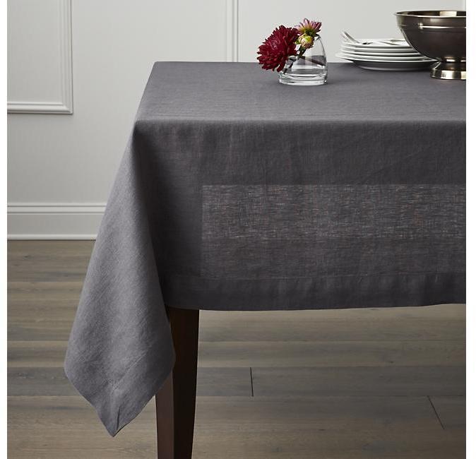 "Helena Graphite 60""x120"" Linen Tablecloth"