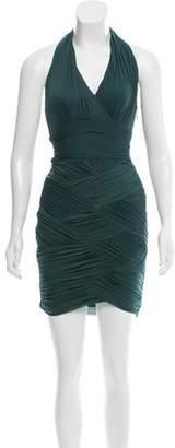 Halston Ruched Halter Dress