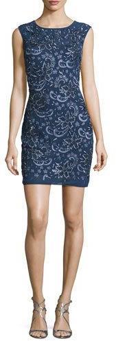 Aidan MattoxAidan Mattox Sleeveless Embroidered Cocktail Dress, Steel Blue
