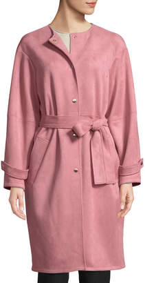 Laundry by Shelli Segal Button-Front Belted Suede Coat