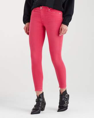 7 For All Mankind Ankle Skinny with Released Hem in Cherry Ice