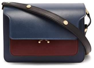 257698147120 Marni Trunk Medium Leather Shoulder Bag - Womens - Navy Multi
