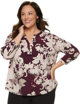 Dana Buchman Plus Size Knit Henley Top