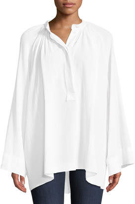 Michael Kors Full-Sleeve Cotton Poet Blouse