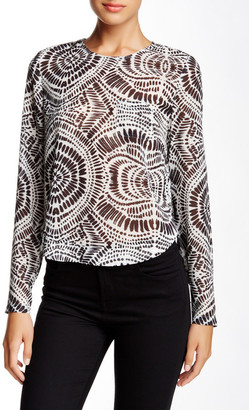 L.A.M.B. Printed Long Sleeve Cropped Blouse $350 thestylecure.com