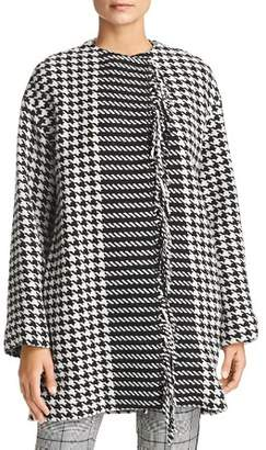 Marella Fringed Houndstooth Coat