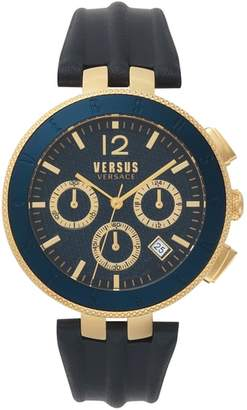 Versace Logo Chronograph Leather Strap Watch, 44mm