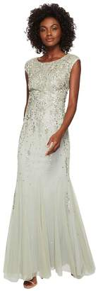 Adrianna Papell Cap Sleeve Fully Beaded Mob Gown Women's Dress