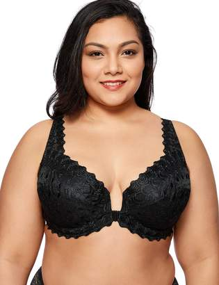 376b8a33179ab Delimira Women s Plus Size Non-Padded Embroidered Front Hook Underwired Bra