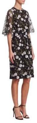 Giambattista Valli Flutter Embroidered Floral Sheath Dress