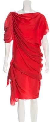 Lanvin Silk Asymmetrical Dress Red Silk Asymmetrical Dress