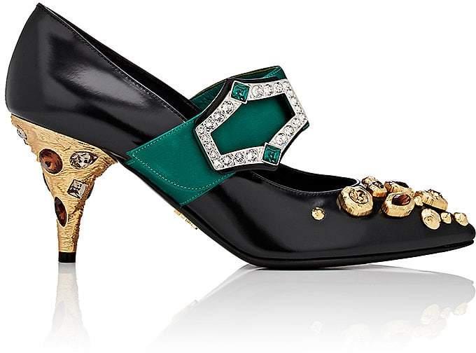 Prada Women's Jeweled-Heel Mary Jane Pumps