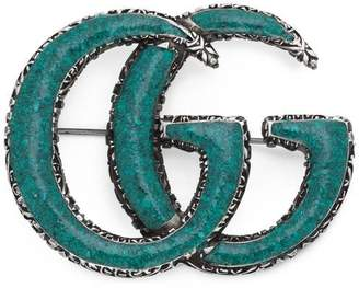 Gucci Enameled Double G brooch