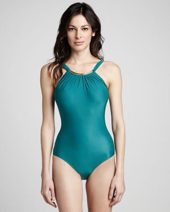 Lenny Argento Gathered Halter Maillot Swimsuit