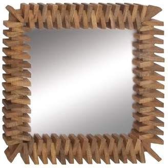 DecMode Decmode Eclectic 36 X 36 Inch Brown Mango Wood And Metal Brick Design Square Wall Mirror, Brown