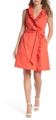 Eliza J Ruffle Trim Poplin Wrap Dress