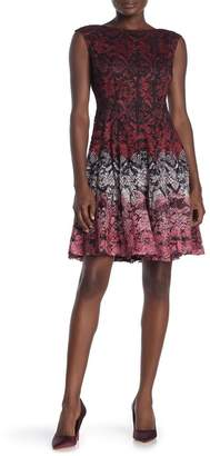 Gabby Skye Sleeveless Printed Lace Fit and Flare Dress