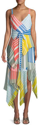 Tanya Taylor Goldie Striped Colorblock Sleeveless Dress