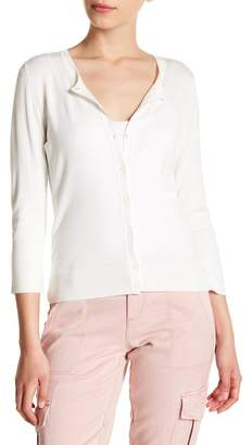 Susina 3\u002F4 Sleeve Crew Neck Cardigan (Regular & Petite)