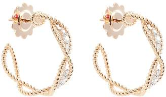 Roberto Coin 'New Barocco' diamond 18k rose gold hoop earrings