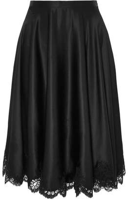 Carine Gilson Dancer Chantilly Lace-trimmed Silk-satin Skirt - Black