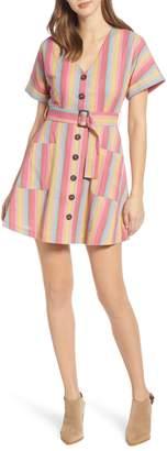 Moon River Stripe Belted Cotton & Linen Minidress