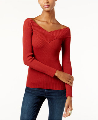 INC International Concepts Off-The-Shoulder Reversible Sweater, Only at Macy's $59.50 thestylecure.com