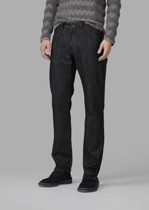 Giorgio Armani Regular-Fit Stretch Slub Denim Jeans