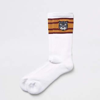 River Island White bear embroidered tube socks