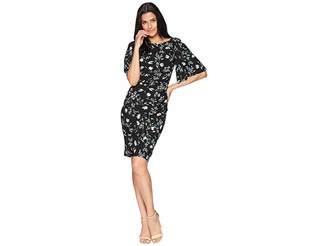 Chaps Floral Jersey Flutter-Sleeve Dress Women's Dress