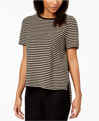 Eileen Fisher Organic Linen Striped High-Low Sweater