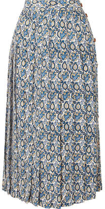 Victoria Beckham Pleated Printed Silk-crepon Midi Skirt - Blue
