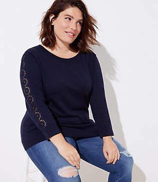 LOFT Plus Eyelet Sleeve Sweater