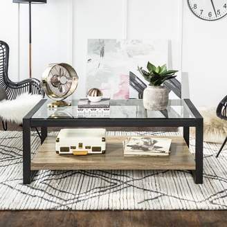 "Walker Edison 48"" Industrial Metal Glass Coffee Table - Driftwood"