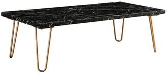 Acme Telestis Rectangular Marble Top Coffee Table in Marble and Gold
