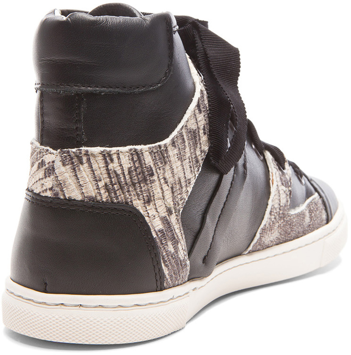 Lanvin High Top Calfskin Leather Sneakers in Black Multi