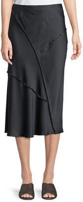 Vince Raw-Edge Silk Midi Skirt