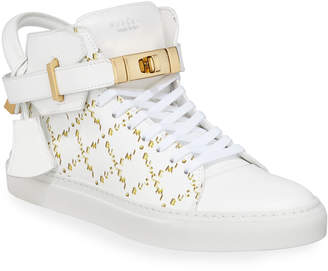 Buscemi Men's Monogramed Leather Mid-Top Sneakers