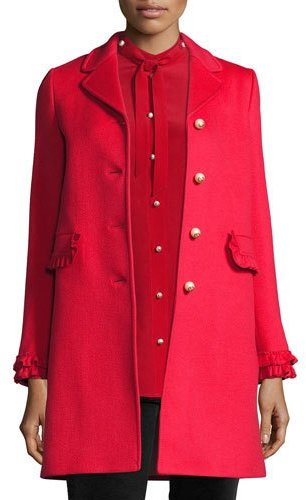 Gucci Single-Breasted Wool Coat, Red