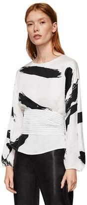 MANGO White Contrast Print 'Sabela' Long Sleeve Top