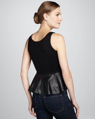 Amanda Uprichard Martini Leather Peplum Top