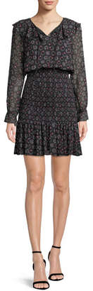 Emporio Armani Long-Sleeve Smocked Stargazer-Print Georgette Dress