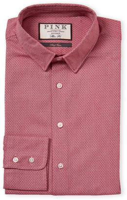 Thomas Pink Slim Fit Textured Pattern Dress Shirt