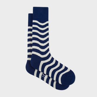 Men's Navy Wobble Stripe Socks $30 thestylecure.com
