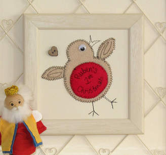 Zoe Gibbons Personalised Robin Embroidered Framed Artwork