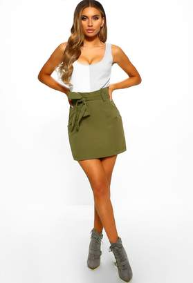 Pink Boutique At Ease Khaki Belted High Waisted Mini Skirt