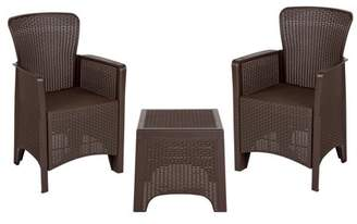 Flash Furniture Chocolate Faux Rattan Plastic Chair Set with Matching Side Table